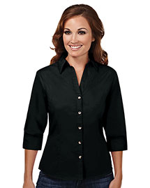 Tri-Mountain 763 Women 60/40 Stain Resistant Open Neck 3/4 Sleeve Shirt