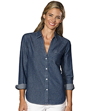 Blue Generation BG8203 Women Ladies Long Sleeve Untucked W/ Pocket Vintage Blue 2 Extra Large Solid