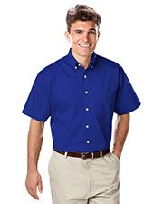 Blue Generation BG8213S Men Short Sleeve 100% Cotton Twill -  Royal Extra Small Solid