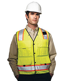 Tri-Mountain 8435 Men 100% Polyester Water Resistant Heavy Twill Safety Vest at bigntallapparel