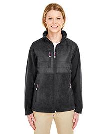 Ultraclub 8493 Women Fleece Jacket With Quilted Yoke Overlay