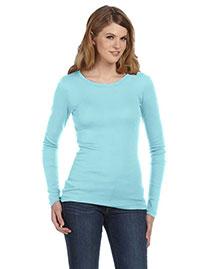 Bella 8751 Women Sheer Mini Rib Long-Sleeve T-Shirt at bigntallapparel
