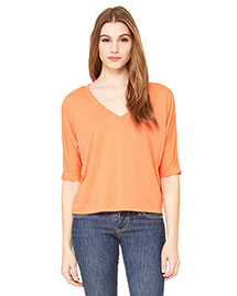 Bella 8825 Women Flowy Boxy Half-Sleeve V-Neck T-Shirt