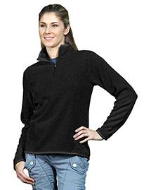 Tri-Mountain 932 Women 100% Polyester 1/4 Zip Sweater Knit Ls Fleece Shirt at bigntallapparel
