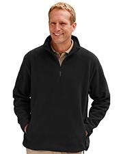 Blue Generation BG9952 Men Adult Polar Fleece Long Sleeve 1/2 Zip Pullover  -  Black 6 Extra Large Solid