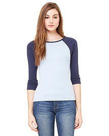 Bella B2000 Women Baby Rib 3/4-Sleeve Contrast Raglan T-Shirt