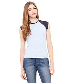 Bella B2020 Women Baby Rib Cap-Sleeve Contrast Raglan T-Shirt at bigntallapparel