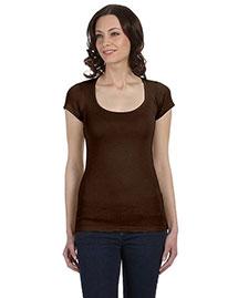 Bella B8703 Women Sheer Mini Rib Short-Sleeve Scoop Neck T-Shirt