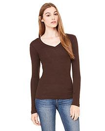 Bella B8750 Women Sheer Mini Rib Long-Sleeve V-Neck T-Shirt at bigntallapparel