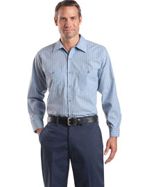 Cornerstone CS10 Men  Long Sleeve Striped Industrial Work Shirt at bigntallapparel