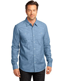 District Threads DM3800 Men   Long Sleeve Washed Woven Shirt