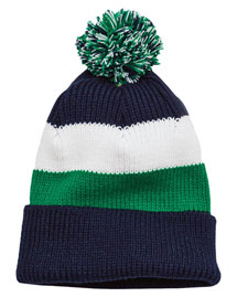 District Threads DT627  Vintage Striped Beanie With Removable Pom at bigntallapparel