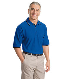 Port Authority Signature K431 Men  Cool Mesh Polo Sport Shirt With Tipping Stripe Trim at bigntallapparel