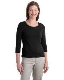 Port Authority L517 Women Modern Stretch Cotton 3/4-Sleeve Scoop Neck Shirt