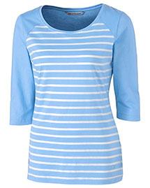 Cutter & Buck LCK08667 Women Revel Stripe 3/4 Sleeve at bigntallapparel