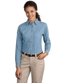 Port & Company LSP10 Women Long Sleeve Value Denim Shirt