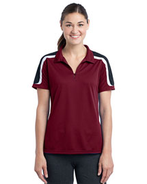 Sport-Tek LST658 Women Tricolor Shoulder Micropique Sport-Wick Polo
