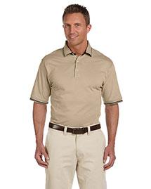 Harriton M140 Men 5.9 Oz Cotton Jersey Short Sleeve Polo With Tipping at bigntallapparel