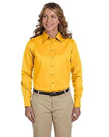 Harriton M500W Women Long-Sleeve Twill Shirt With Stain-Release