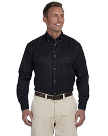 Harriton M500 Men Long Sleeve Twill Shirt With Stain-Release at bigntallapparel