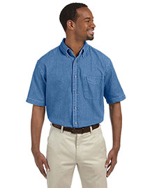 Harriton M550S Men 6.5 Oz Short Sleeve Denim Shirt at bigntallapparel