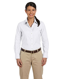 Harriton M600W Women Long-Sleeve Oxford With Stain-Release at bigntallapparel