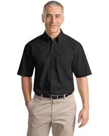 Port Authority Signature S633 Men Short Sleeve Value Poplin Shirt at bigntallapparel