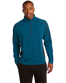 Sport-Tek ST851 Men Sportwick Stretch 1/2zip Colorblock Pullover at bigntallapparel