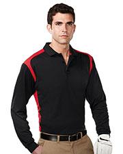 Tri-Mountain K145LS Men 100% Polyester Long Sleeve Knit Shirt W/Rib Cuff, 3 Button Placket at bigntallapparel