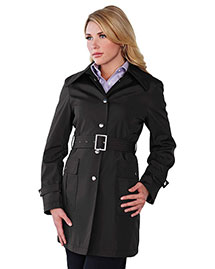 Tri-Mountain LB9013 Women 100% Polyester Hooded Trench Coat at bigntallapparel