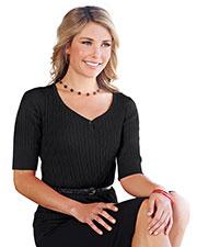 Tri-Mountain LB921 Women 100% Cotton Elbow Sleeves Cable Sweater at bigntallapparel