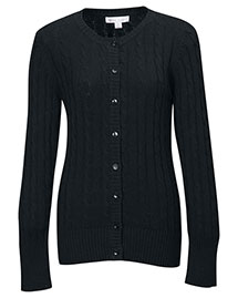 Tri-Mountain LB923 Women 100% Cotton Long Sleeves Cable Sweater Cardigan at bigntallapparel