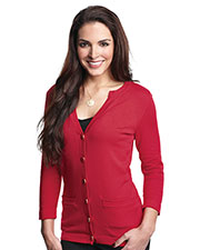 Tri-Mountain LB929 Women 3/4 Sleeve Sweater Cardigan at bigntallapparel